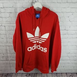 Adidas Classic Red Trefoil Logo Pullover Hoodie